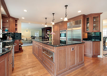 wooden cabinets and island